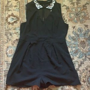 Ark & Co black romper with sequin collar